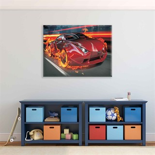 Sports Car Flames City Speed - Fotolærred (100cm x 75cm)