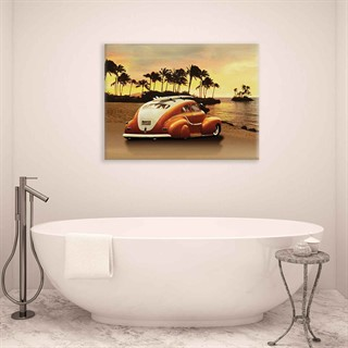 Car Beach Surf Palms Sunset - Fotolærred (100cm x 75cm)