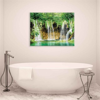 Forest Waterfalls Nature - Fotolærred (100cm x 75cm)