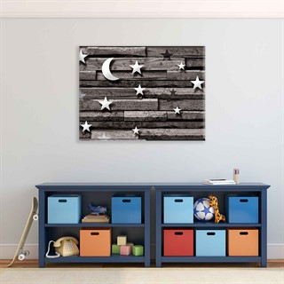 Wooden Board Moon Stars - Fotolærred (100cm x 75cm)