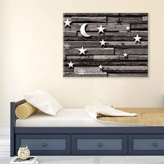 Wooden Board Moon Stars - Fotolærred (80cm x 60cm)