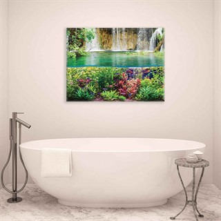 Waterfall Sea Jungle Nature - Fotolærred (100cm x 75cm)