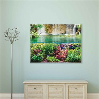Waterfall Sea Jungle Nature - Fotolærred (80cm x 60cm)