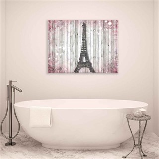 City Eiffel Tower Wood Pink - Fotolærred (100cm x 75cm)
