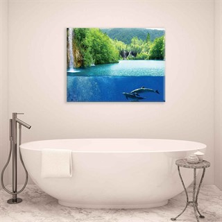 Waterfall Sea Nature Dolphins - Fotolærred (100cm x 75cm)