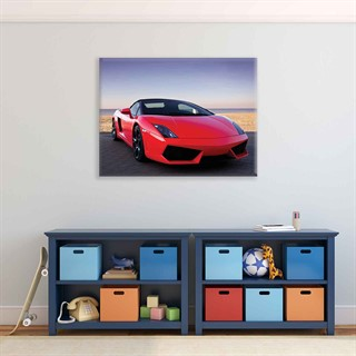 Car Lamborghini Luxury Red - Fotolærred (100cm x 75cm)
