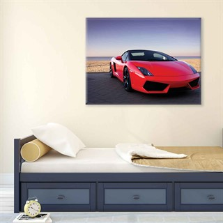 Car Lamborghini Luxury Red - Fotolærred (80cm x 60cm)