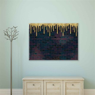 Gold Paint Bricks - Fotolærred (80cm x 60cm)