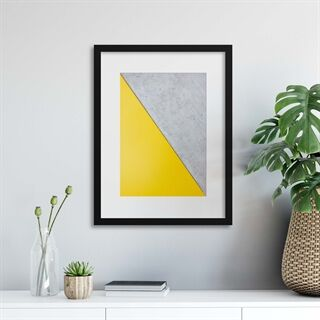 Grey/Yellow Abstraction - Indrammet plakat