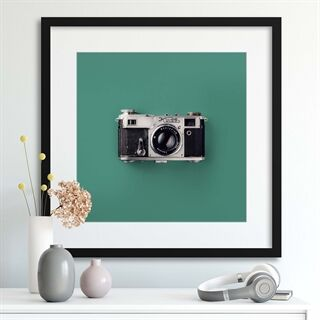 Retro Camera - Indrammet plakat
