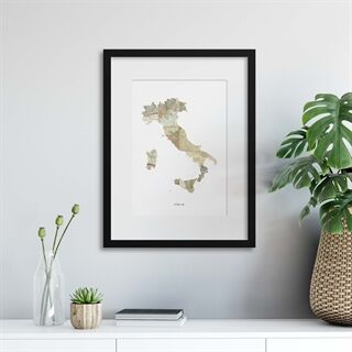 Map Countries: Italia - Indrammet plakat