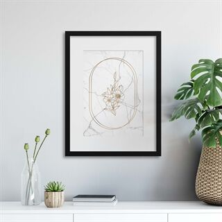 Marble Floral Chic 3 - Indrammet plakat