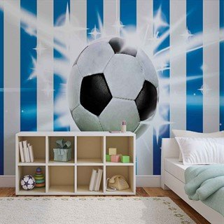 Football Blue White Stripes - Tapet/fototapet