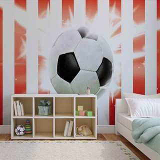 Football Red White Stripes - Tapet/fototapet