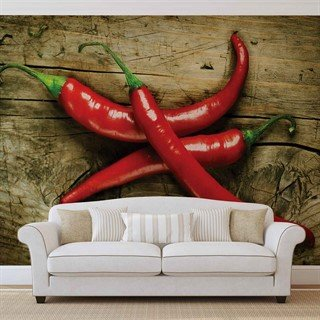 Tapet-hot-chillies-food-wood-fototapet-vægmaleri-2015wm-food-and-drink