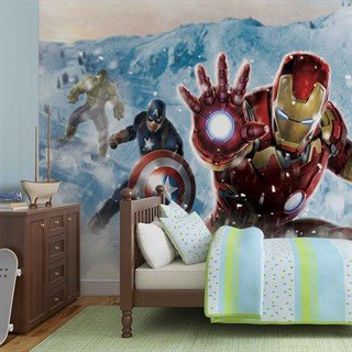 Tapet-marvel-avengers-in-snow-fototapet-vægmaleri-3364wm-marvel-avengers