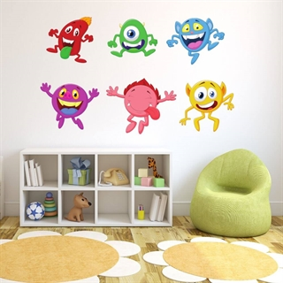 Wall stickers med søde, sjove og glade monsters