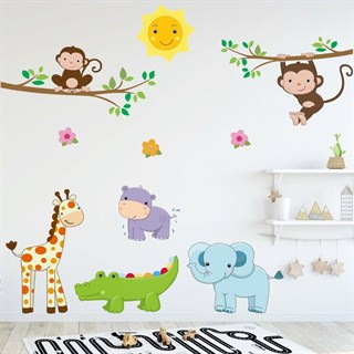 Wallsticker med jungle dyr