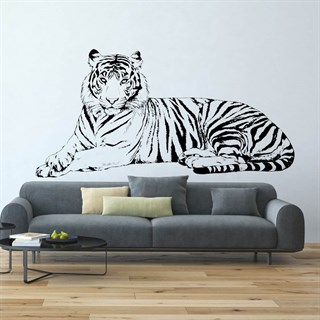 En flot Liggende stribet tiger  wallstickers