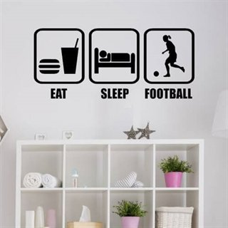Wallsticker med teksten Eat, sleep, football til piger