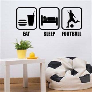 Wallstickers med teksten Eat, sleep, football