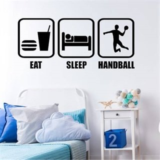 Wallsticker med teksten Eat, sleep, handball til drenge
