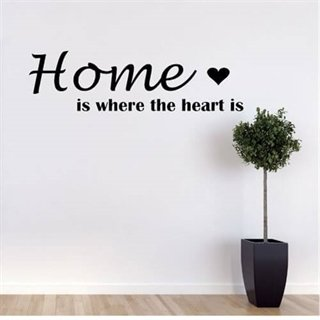 Wallsticker med engelsk tekst Home is where the heart is