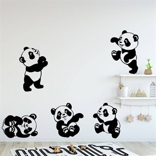 Wallstickers - 5 legende pandabjørne