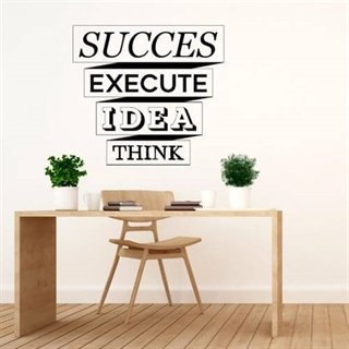 Wallsticker med teksten Succes, execute, idea, think.