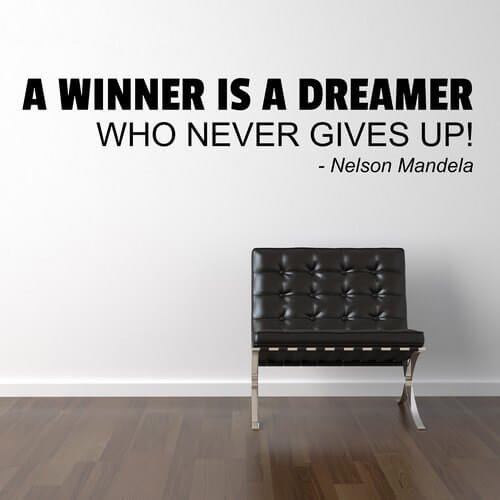 Wallstickers citat med teksten. A winner is a dreamer