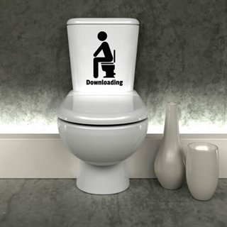 Downloading - Sjov toilet wallstickers til WC,et