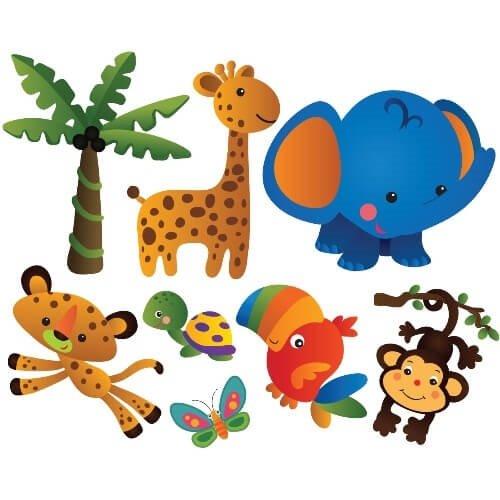 eda8c014045 wallstickers med papegøje, med abe, med giraf, skildpadde, sommerfugl, løve  og
