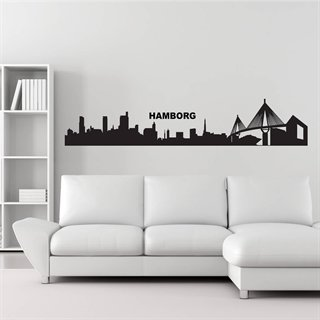 Wallstickers med skyline over Hamborg by.