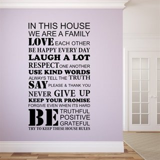 En smart Wallstickers med teksten House rules.