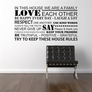 Wallstickers med teksten - We are a family