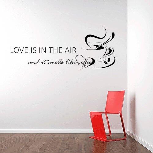 til kaffe elskeren - wallsticker med kaffekop og tekst
