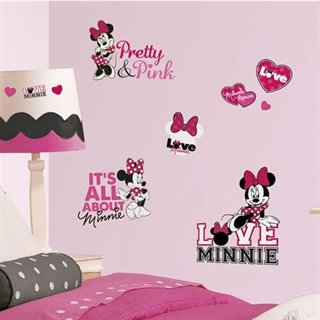 Wallsticker med Minnie Mouse elsker pink