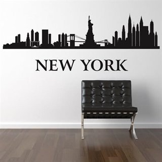 en wallstickers med et by billed af new york