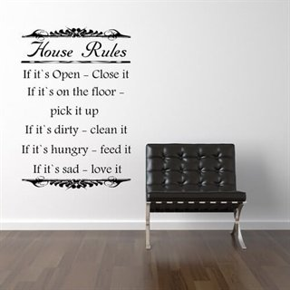 wallstickers med tekst house rules