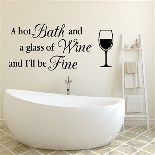 Bath and a glass of wine - wallstickers