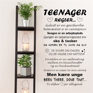 Wallsticker med teenager regler til teenageren i huset