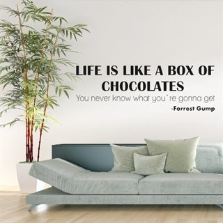 Wallstickers med et citat af forrest gump. Life is like a box of chocolates