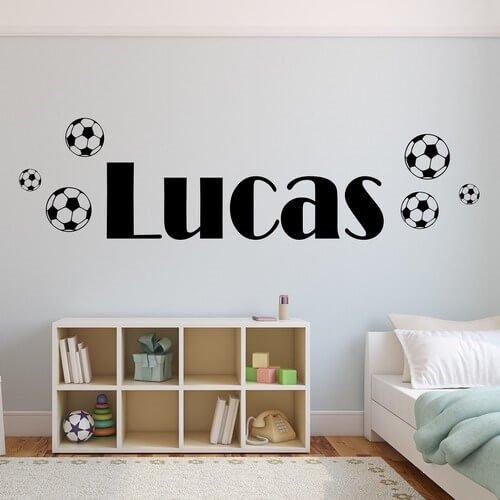 design din egen tekst - wallstickers med navn fodbolde