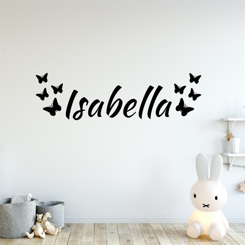 navne tekst med sommerfugle - wallstickers med navn