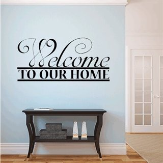 Wallstickers med tekst welcome to our home